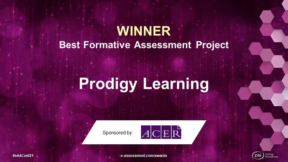 Prodigy Learning, winner of the 2021 Best Formative Assessment Project