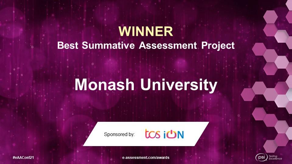 Monash University, winner of the 2021 Best Summative Assessment Project